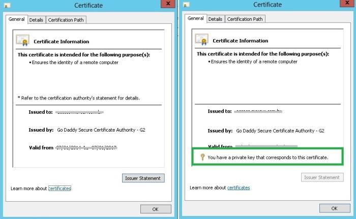 Certificate PrivateKey